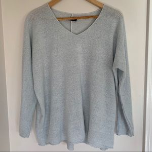Sweaters - Pale Blue Mohair Blend Sweater Made in Italy